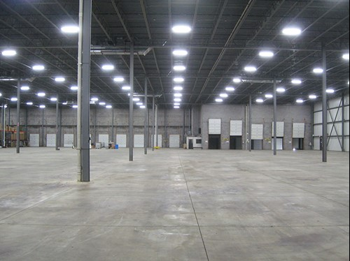 Streetsboro, Ohio T5 high bay lighting upgrade using energy efficient warehouse lighting.