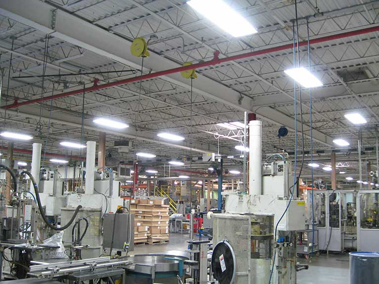 Metal Halide to T8 factory lighting retrofit, Cleveland & Akron, Ohio