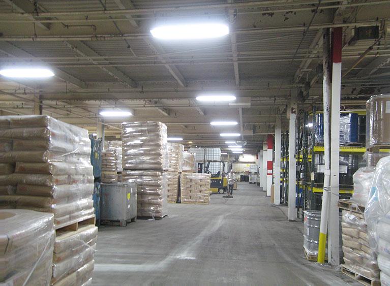 Lighting upgrade for chemical warehouse to T8 high bay fixtures, Cleveland & Akron, Ohio