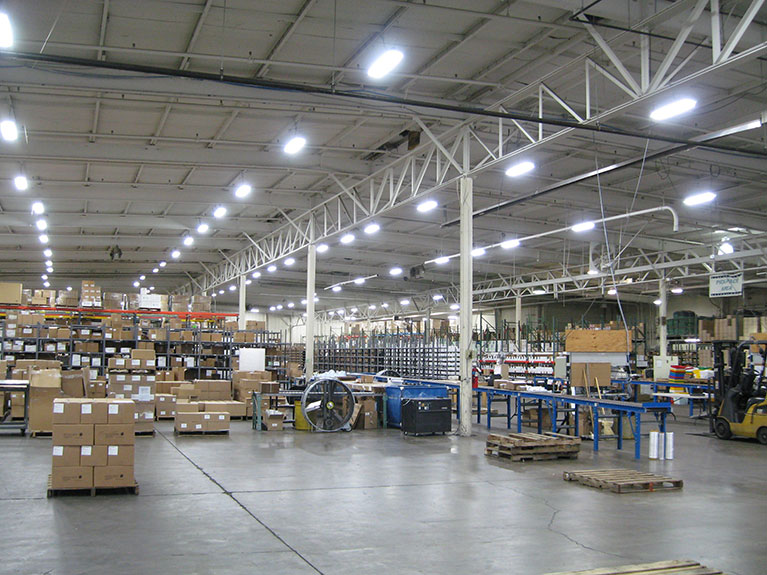 Distribution center converted from Metal halide to T5HO fixtures, Cleveland & Akron, Ohio